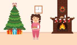 Festliches Design des Raumes Ziegelsteinkamin, Weihnachtskranz, Milch und Plätzchen für nette Sankt, festlicher verzierter Baum,  Stockfotos