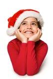 Festliches kleines Mädchen, das oben lächelt und schaut Lizenzfreies Stockbild