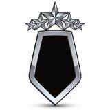 Festliches schwarzes Vektoremblem mit Entwurf und fünf silbernen Sternen Lizenzfreie Stockfotos