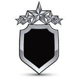 Festliches schwarzes Vektoremblem mit Entwurf und fünf silbernen Sternen Stockfoto