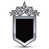 Festliches schwarzes Vektoremblem mit Entwurf und silbernem Stern fünf Stockfotografie