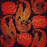 Festliches simless Muster des neuen Jahres mit rotem ruster als Symbol von und von roze Verwickelte lineare Zeichnung der krähend Stockfoto