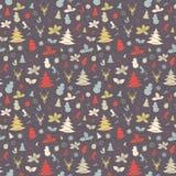 Festliches Weihnachts- und des neuen Jahresnahtloses Muster in der Weinlese flach Lizenzfreie Stockfotos