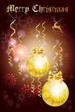 Festliches Weihnachtsgruß-Kartendesign mit schönen Feiertagsbällen und Band - vector eps10 Lizenzfreie Stockfotografie