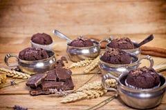 Festlichkeit für Genuss- Schokoladenmuffins Lizenzfreie Stockbilder