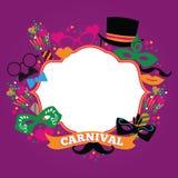 Festlig bakgrund för beröm med karnevalsymboler och objekt Fotografering för Bildbyråer