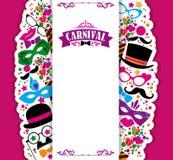 Festlig bakgrund för beröm med karnevalsymboler och objekt Royaltyfri Fotografi
