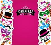 Festlig bakgrund för beröm med karnevalsymboler och objekt Royaltyfria Foton