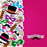 Festlig bakgrund för beröm med karnevalsymboler och objekt Royaltyfri Bild