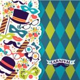 Festlig bakgrund för beröm med karnevalsymboler och objekt Arkivfoton