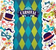 Festlig bakgrund för beröm med karnevalsymboler och objekt Arkivbild