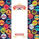 Festlig bakgrund för beröm med karnevalsymboler och objekt Royaltyfri Foto