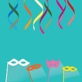 Festlig bakgrund för beröm med konfettier, hängande standerter Arkivbild