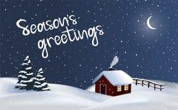 Festlig bakgrund för bygd för vektornattvinter med ett röda stugahus, lampglasrök och julträd, glad jul stock illustrationer