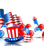 Festlig bakgrund i amerikanska nationella färger Royaltyfria Bilder