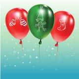 Festlig bakgrund med gröna och röda ballonger med klotter royaltyfri illustrationer