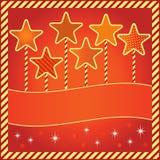 Festlig bakgrund med stjärnor och avstånd för text Arkivfoto