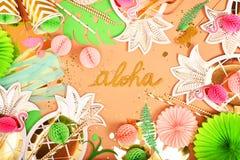 festlig bakgrund tropiskt tema hawaii Parti födelsedag ovanför sikt Lekmanna- lägenhet royaltyfri foto