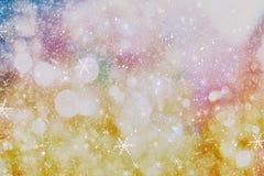 festlig bakgrundsjul Elegant abstrakt bakgrund med ljus och stjärnor Royaltyfri Bild