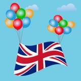 Festlig ballongbakgrund med den Förenade kungariket flaggan Brexit Arkivbild