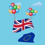 Festlig ballongbakgrund med den Förenade kungariket flaggan Brexit Fotografering för Bildbyråer