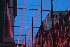 Festlig belysning på den Bolshaya Dmitrovka gatan i Moskva Arkivfoton