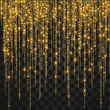 Festlig explosion av konfettier Guld blänker bakgrund för kortet, inbjudan vektor illustrationer
