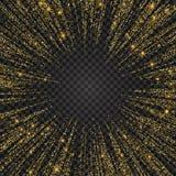 Festlig explosion av konfettier Guld blänker bakgrund för kortet, inbjudan stock illustrationer