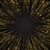 Festlig explosion av konfettier Guld blänker bakgrund för kortet, inbjudan Dekorativ beståndsdel för ferie vektor illustrationer