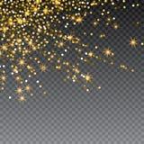 Festlig explosion av konfettier Guld blänker bakgrund för kortet, inbjudan Dekorativ beståndsdel för ferie stock illustrationer
