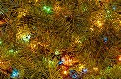 Festlig feriebakgrund av julljus Royaltyfria Foton