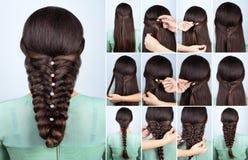 Festlig frisyr för orubbligt långt hår arkivfoton