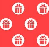 festlig gåva Röd modell med vita cirklar Royaltyfria Bilder