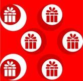festlig gåva Vit modell på en röd bakgrund Arkivbild