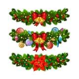 Festlig garnering för jul från julträdfilialer stock illustrationer