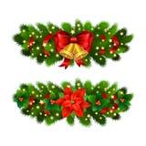 Festlig garnering för jul från julträdfilialer royaltyfri illustrationer