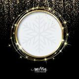 Festlig guld- gnistrandebakgrund Blänka gränsen, cirkelram Svart och guld- vektordamm utmärkt för jul och vektor illustrationer