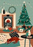 Festlig hälsa kort- eller vykortmall med hemtrevligt rum som dekoreras för ferier, julgran, spis och hund stock illustrationer