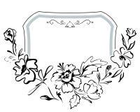 Festlig hand-dragen ram för tappning med mjuka blommor Vektorpatte Arkivfoto