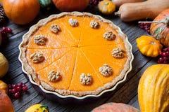 Festlig hemlagad läcker pumpapaj med valnötter som göras för tacksägelsen och halloween, bästa sikt äpplehösten undersöker torra  arkivfoto