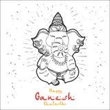 Festlig illustration av födelsedagen av den indiska guden Ganesha vektor illustrationer