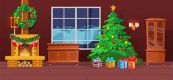 Festlig inre av julrum på lyckligt nytt år för helgdagsafton royaltyfri illustrationer