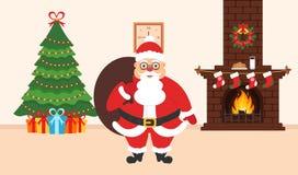 Festlig inre av rummet Elegant julgran, tegelstenspis, gulliga Santa Claus med påsen av gåvor Plan design vektor Royaltyfri Bild