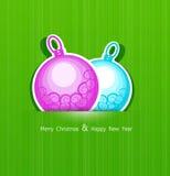 Festlig julbakgrund med bollar vektor illustrationer