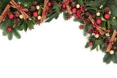 Festlig julgräns Arkivbild
