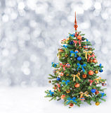Festlig julgran i vintersnö royaltyfri bild