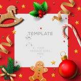 Festlig mall för glad jul med pepparkakamän och jul garnering, illustration Arkivbilder