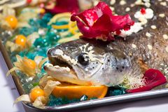 Festlig matdesign med den bakade laxen Royaltyfri Fotografi