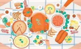 Festlig matställe för tacksägelse Smakliga traditionella feriemål som ligger på plattor och händer av folk som äter dem dekorerat royaltyfri illustrationer