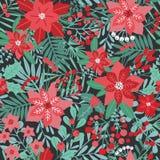 Festlig sömlös modell för elegant jul med naturliga garneringar för grön och röd traditionell ferie på mörk bakgrund royaltyfri illustrationer
